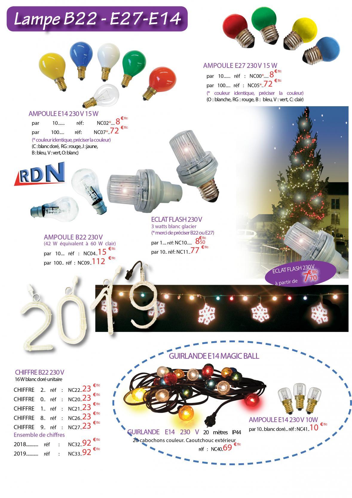 Guirlandes ampoules et motifs (B22 - E27 - E14)