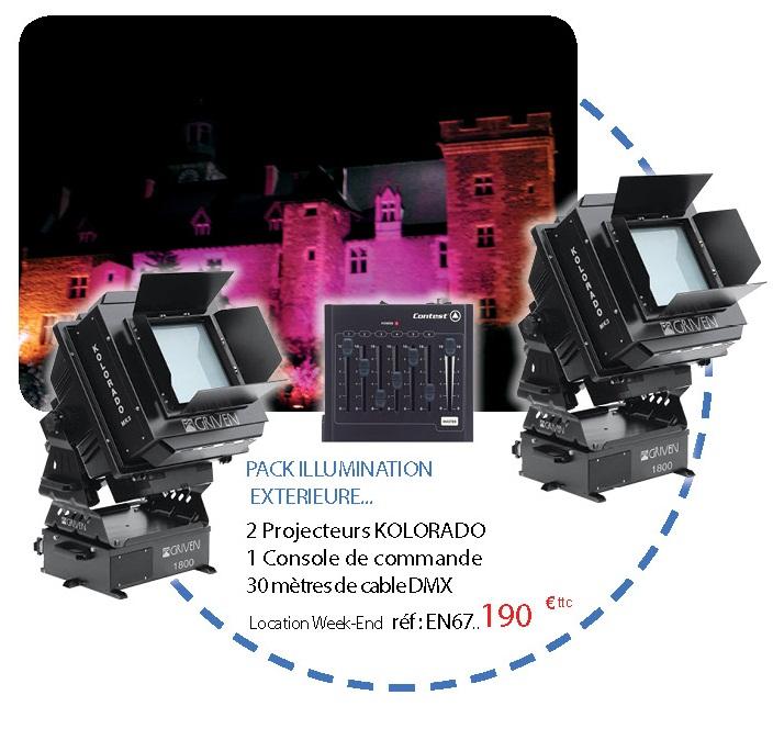 Location de pack d'illumination d'extérieur : 2 projecteurs KOLORADO + console de commande + 30 mètre de cable DMX